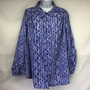 Women's Blue Geo Button Up Tunic Blouse 1X